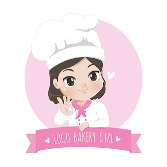The little bakery girl chef's logo is happy, tasty and sweet smile,