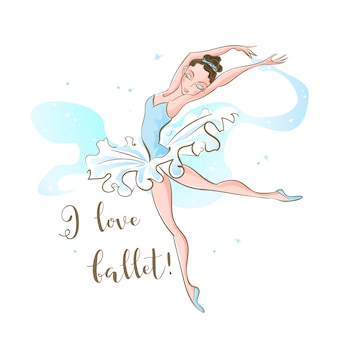 Little ballerina. ballet. dancing. i love ballet . inscription.