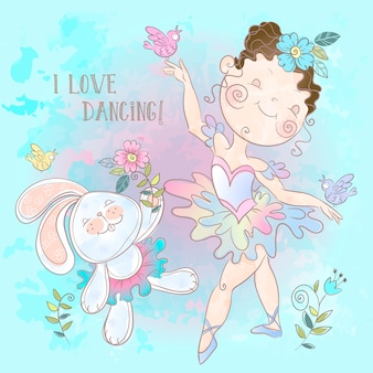 Little ballerina dancing with a bunny.