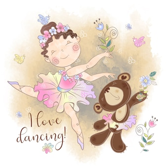 Little ballerina girl dancing with a bear. i love dancing.