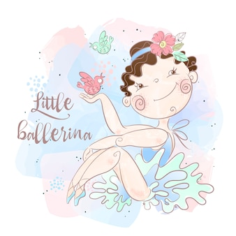 A little ballerina with birds