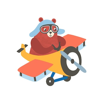 Little bear on airplane flat illustration. happy small grizzly flying on aircraft