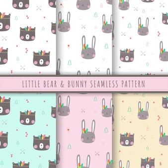 リトルクマとバニーのパターンパステルでシームレスなコレクション。