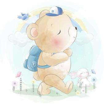 Маленький медведь и милый зайчик идут в школу