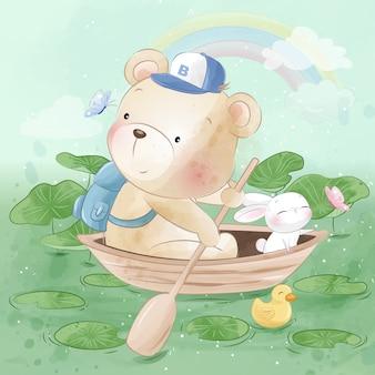 Маленький медведь и милый зайчик едут на лодке