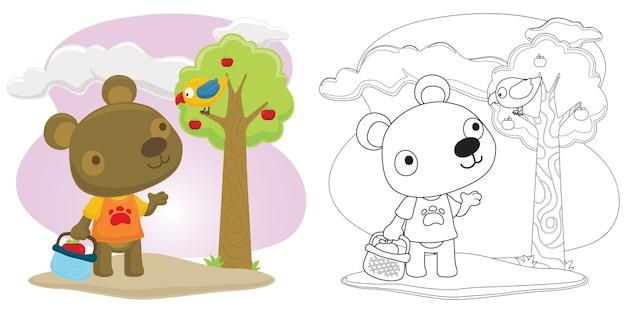Little bear and bird picking fruits