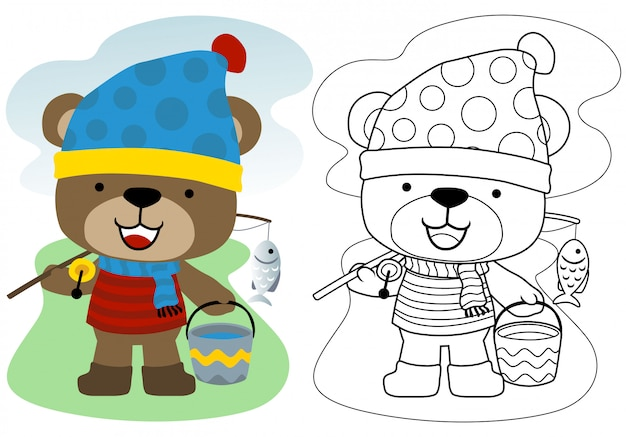 Little bear cartoon with fishing tackle