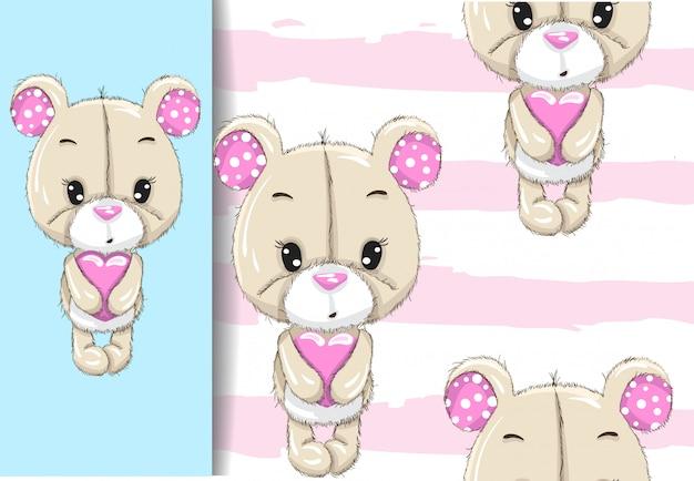Little bear holding heart
