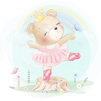 Little bear is dancing ballet
