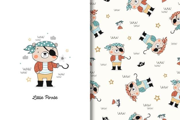 Little bear pirate cute cartoon character card and seamless pattern