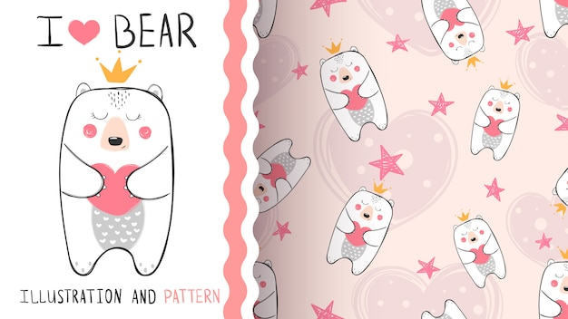 Little bear princess seamless pattern