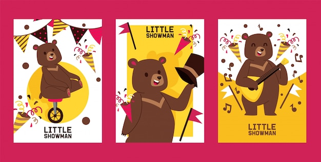 Little bear showman set of banners, posters illustration. circus performance.