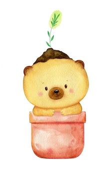 그의 머리에 식물 화분에 앉아 작은 곰. 격리 된 수채화 그림입니다. 손으로 그린