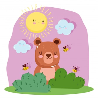 Little bear with bees and grass