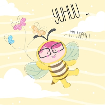 Little bee hand drawn illustration-vector