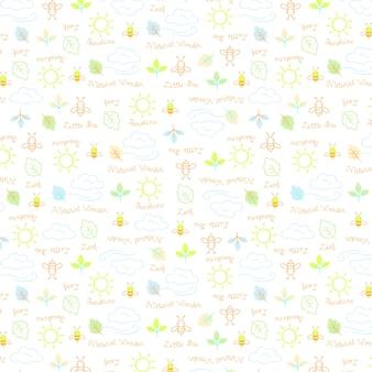 작은 꿀벌 패턴 프리미엄 벡터