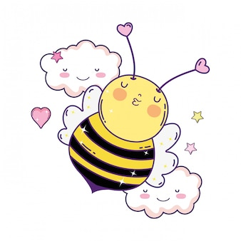 Little bee with clouds kawaii character