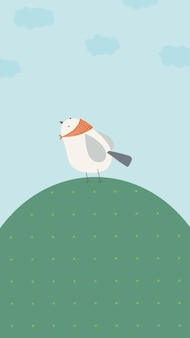Sfondi per cellulare uccellino su una collina verde