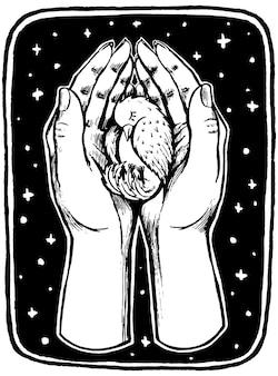 인간의 손바닥에 작은 새. 빈티지 생태 포스터입니다. 손으로 그린 벡터 일러스트 레이 션. 레트로 스타일의 그래픽 드로잉입니다. 장식, 인쇄, 엽서 디자인.