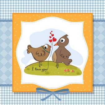 Little bird in love. valentine's day card