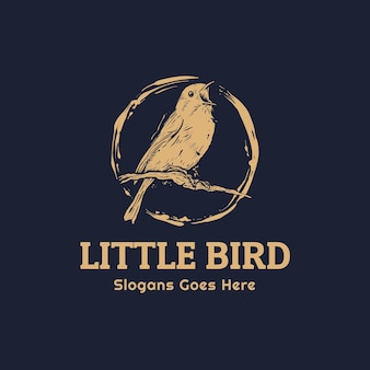 Little bird robin sing for spring hand drawn vintage logo template