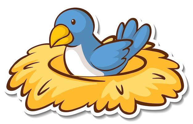 巣のステッカーに座っている小鳥