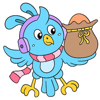 Little birds listening to headphones music carrying containers of easter eggs. illustration art, doodle icon image kawaii.