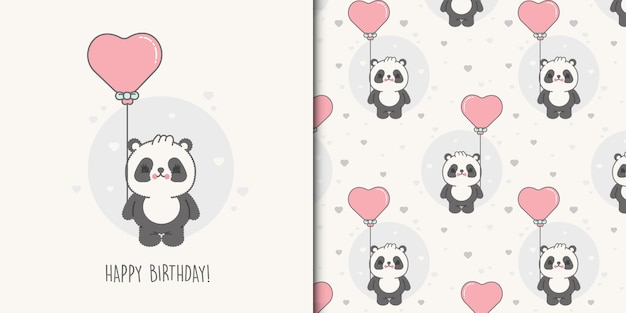 Маленькая открытка на день рождения с медведем и бесшовные модели для детей premium