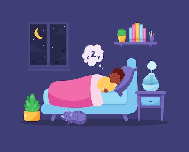 가습기로 침실에서 잠자는 흑인 소년 건강한 수면