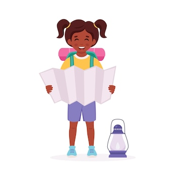Little black girl scout with map backpack camping summer kids camp