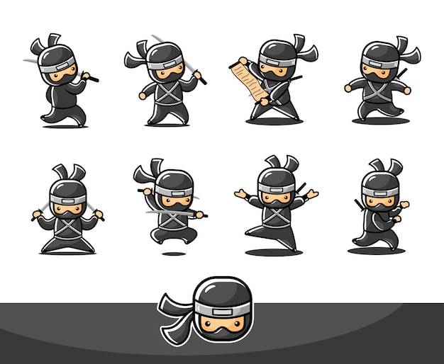 8つの異なるポーズとアクションを持つ小さな黒い忍者