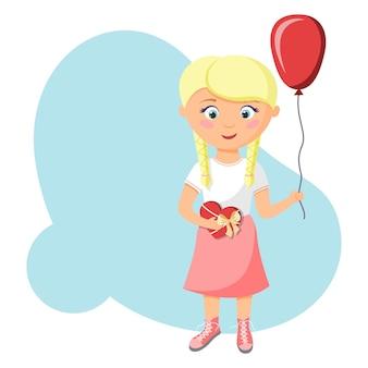 Маленькая блондинка с воздушным шаром и коробкой шоколадных конфет. концепция дня святого валентина. подарок ко дню святого валентина.