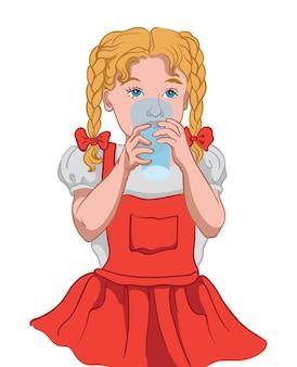 Маленькая блондинка с голубыми глазами в красном платье и белой блузке пьет воду