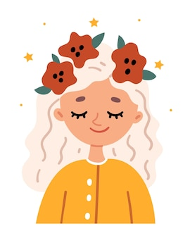 Little blonde girl in a wreath of poppies