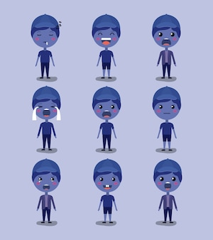 Little blue boys emoticon set kawaii characters