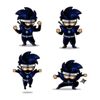 Little blue ninja cartoon with four different action