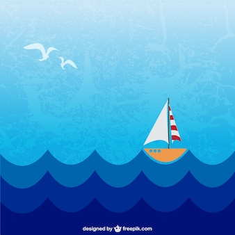 Little boat sailing in the sea