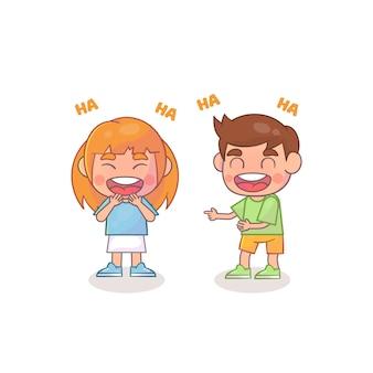 어린 소년과 어린 소녀가 함께 웃음