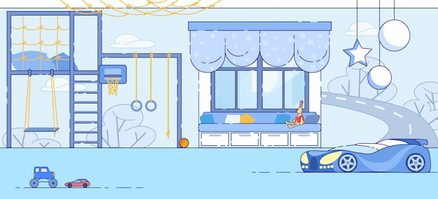 Little boy bedroom modern interior flat vector
