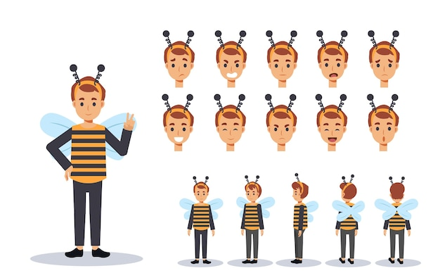 Little boy in bee costume illustration