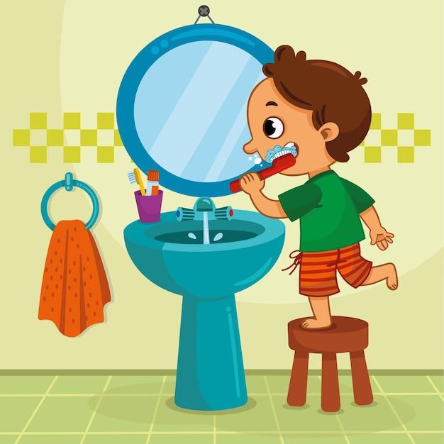 욕실 벡터 일러스트 레이 션에서 그의 양치질 하는 어린 소년