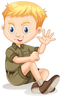 Little boy in camping outfit waving