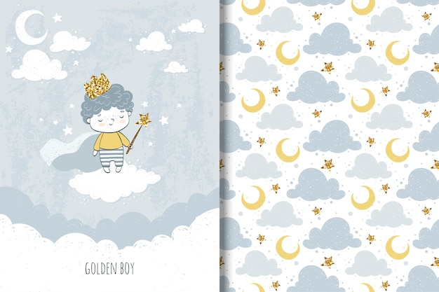 Little boy  card and seamless pattern for kids
