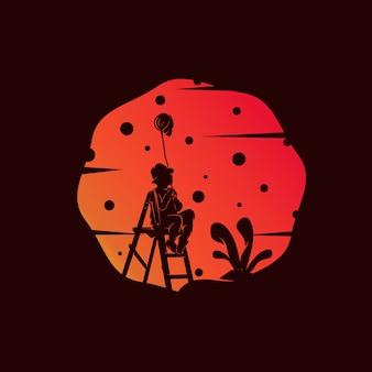 Little boy catch the stars