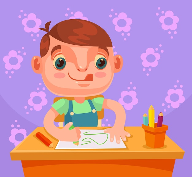 Little boy character draws picture and do homework