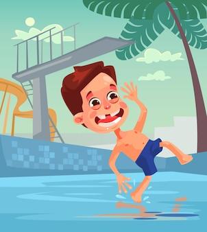 호텔 수영장에서 어린 소년 캐릭터 점프 프리미엄 벡터