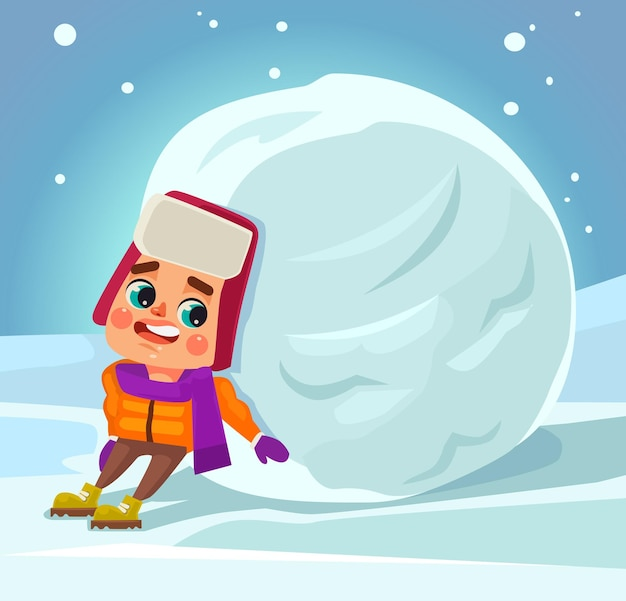 Little boy character make snowman.