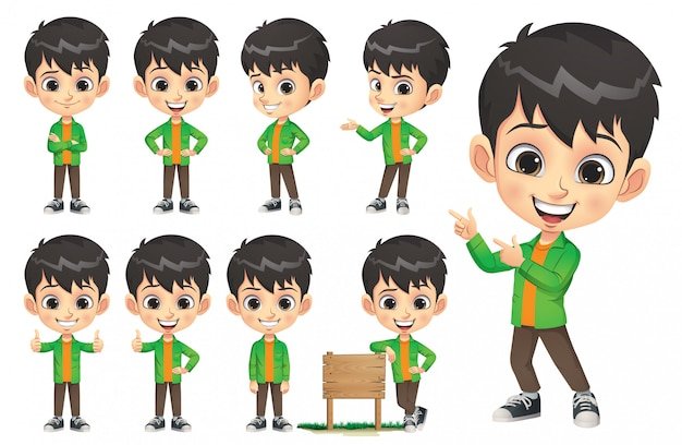Little boy character set