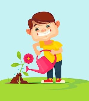 花の植物に水をまく小さな男の子のキャラクター