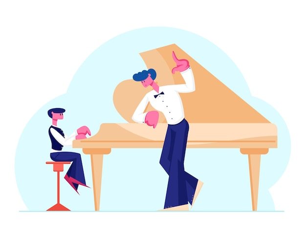 Little boy in concert dress training on grand piano with help of experienced teacher. cartoon flat illustration